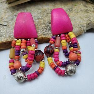 Vtg Beaded Wood Earrings 80's Statement Earrings